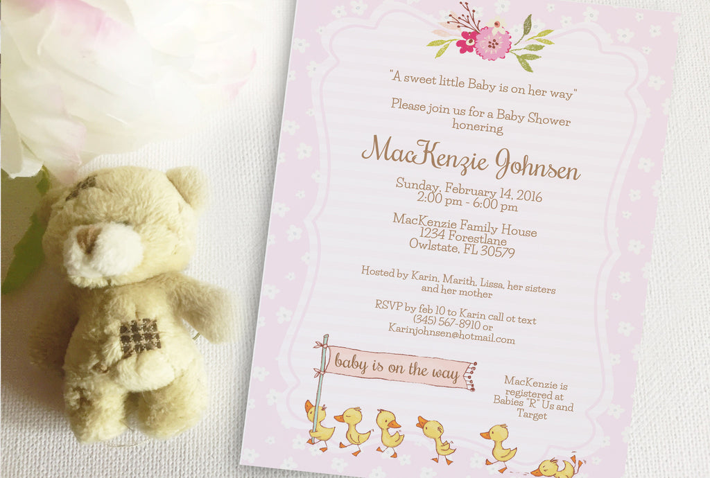 Duck Baby Shower invitation, editable, printable - the paper owl