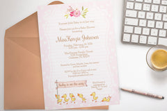 Duck Baby Shower invitation, editable - the paper owl
