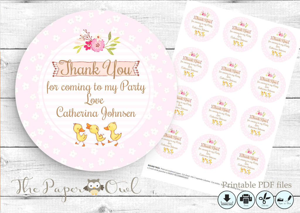 Duck thank you tags, printable - the paper owl