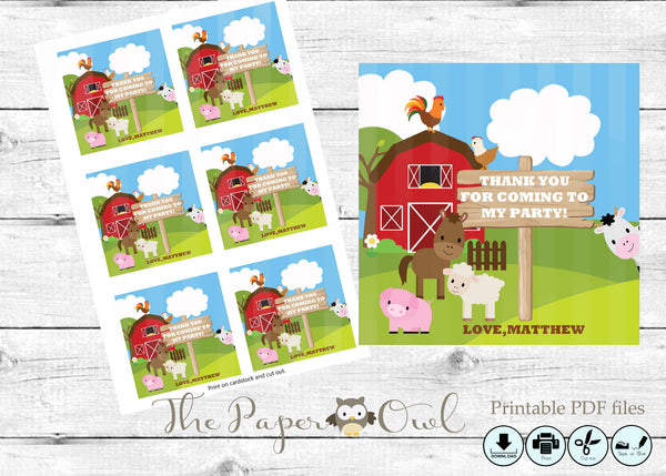 Farm party 3inch thank you tag blue, customize yourself - The Paper Owl