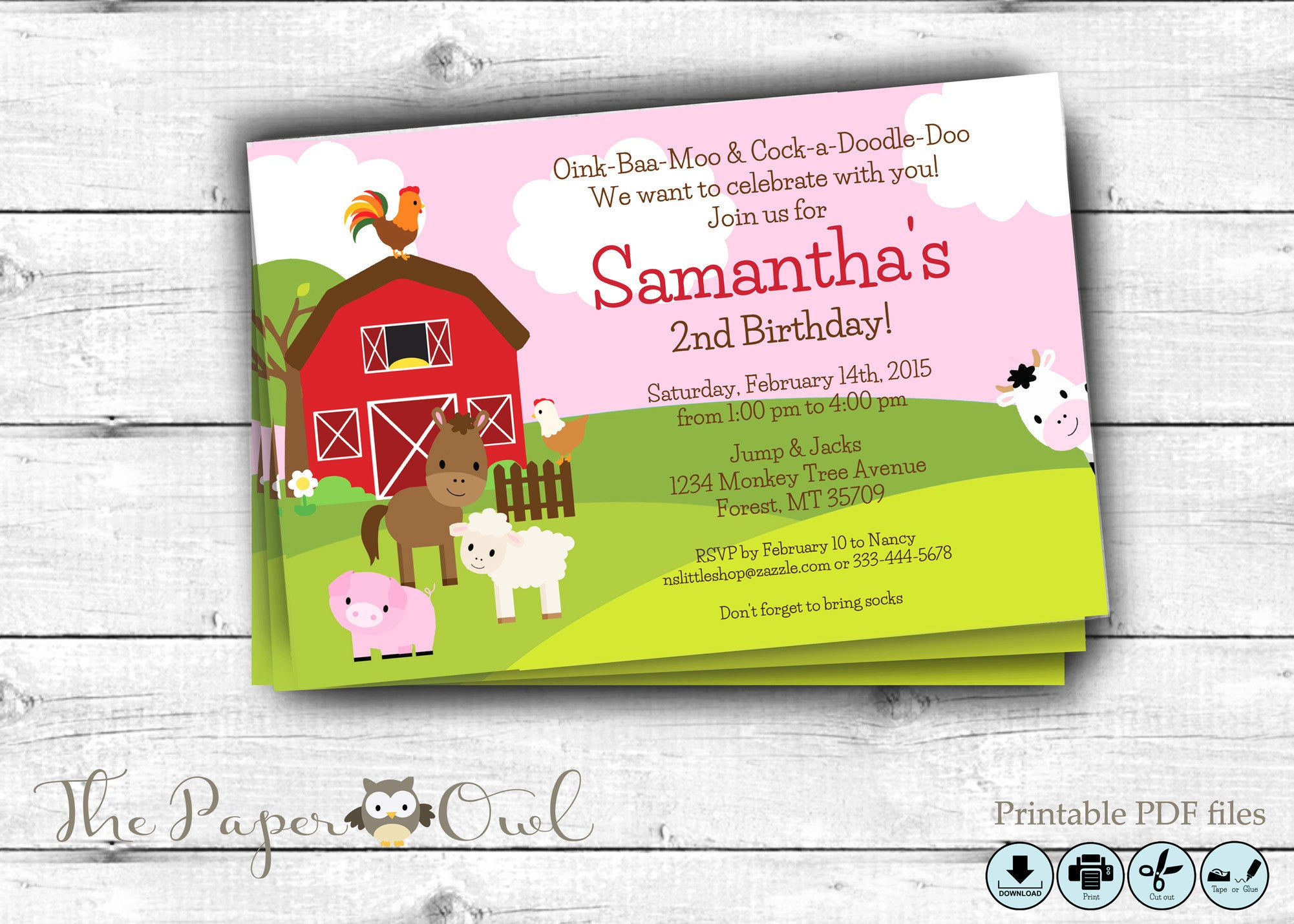 Farm party invitation pink, you can customize - The Paper Owl