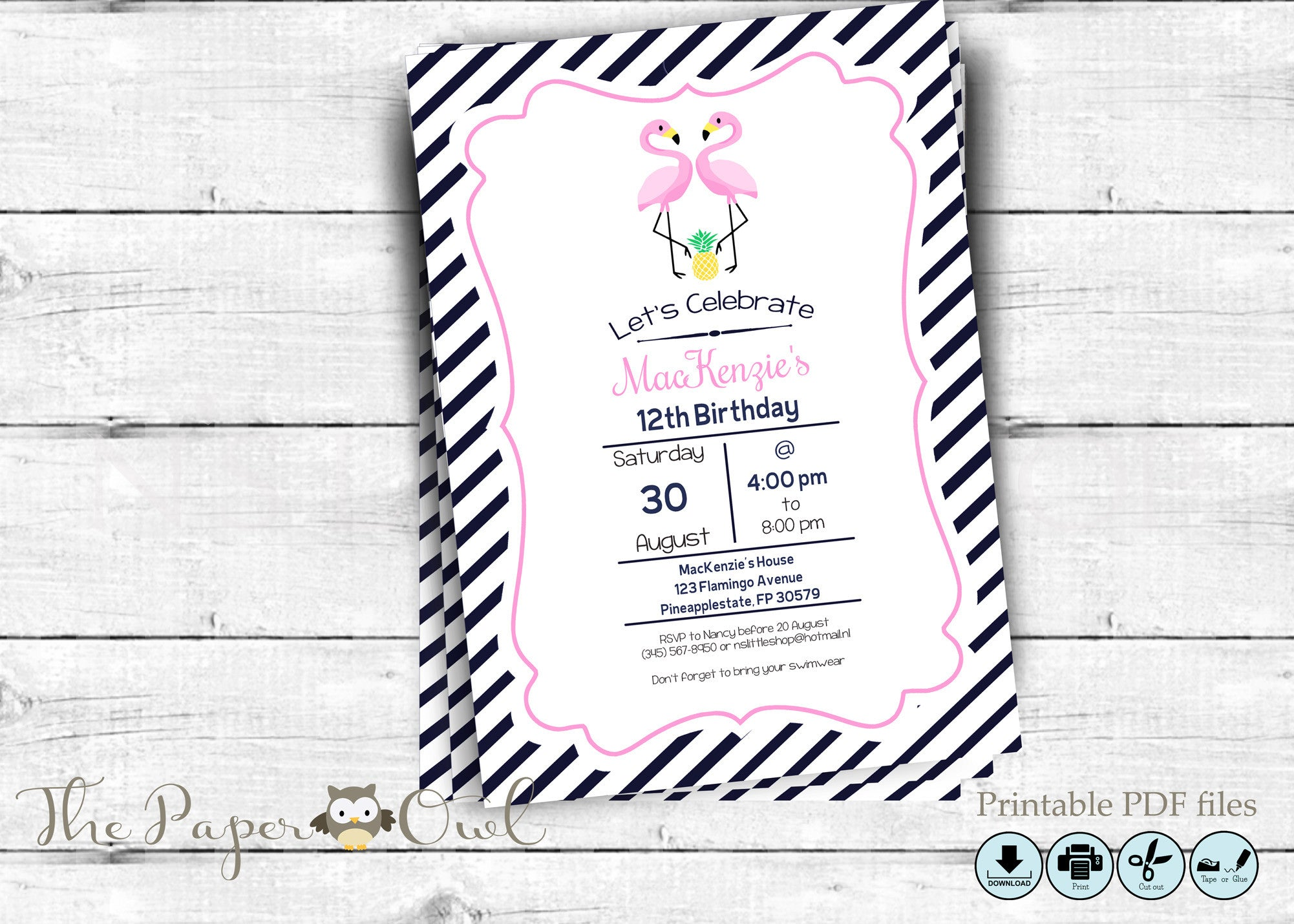 Flamingo party invitation, customize yourself - The Paper Owl