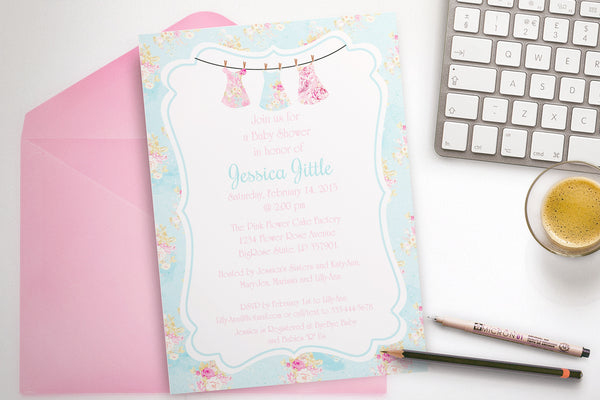 Flower baby shower printable invitation - the paper owl