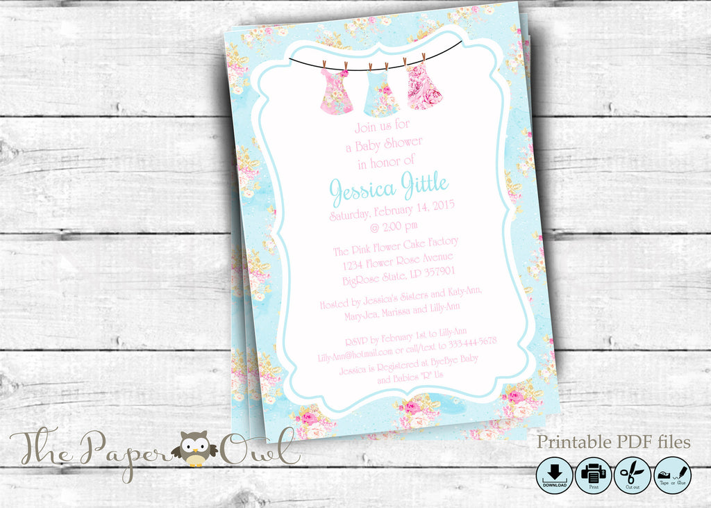 Flower baby shower printable invitation, customize yourself - the paper owl