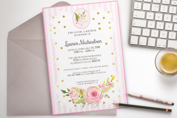 Flower shower invitation, customize yourself, printable - The Paper Owl