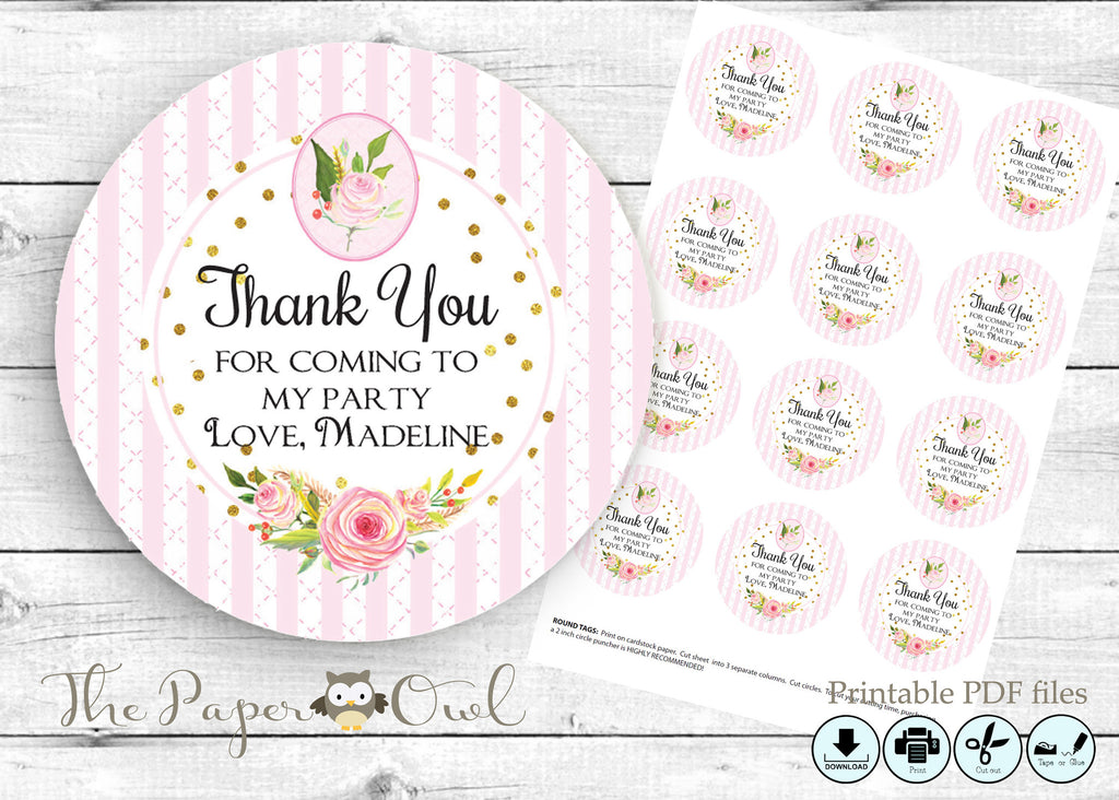 Flower shower party thank you tags, printable - the paper owl