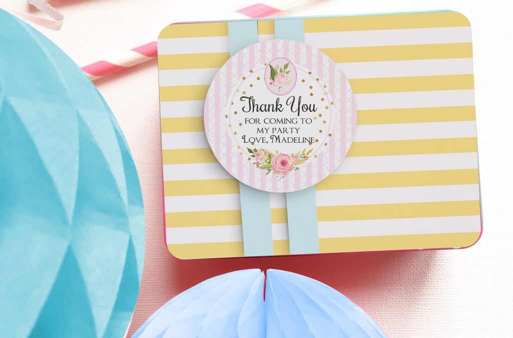 Flower shower party thank you tags, printable, editable - the paper owl