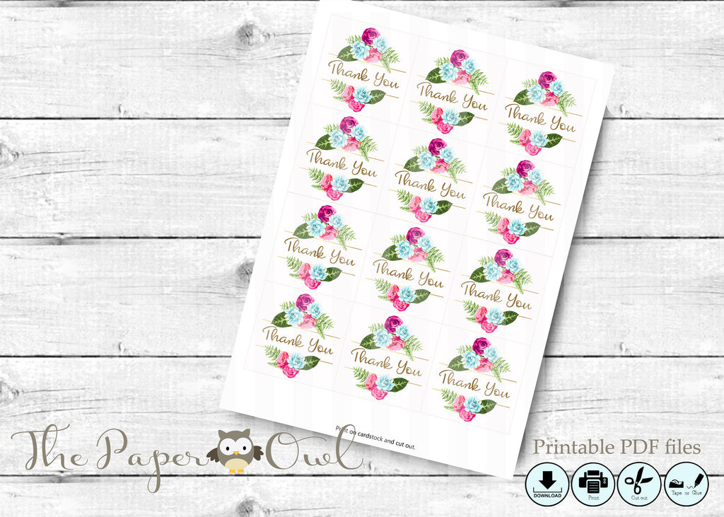 Flower thank you gift tags, printable - the paper owl