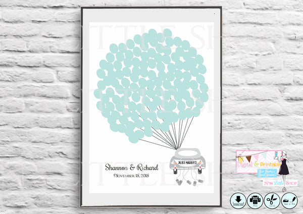 Wedding Guest Book Alternative poster, Car with 125 empty tiffany blue balloons editbale for names and date - The Paper Owl