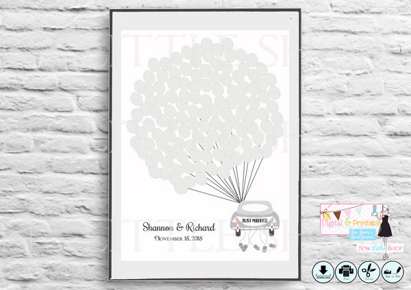 Wedding Guest Book Alternative poster, Car with 125 empty gray balloons editbale for names and date - The Paper Owl