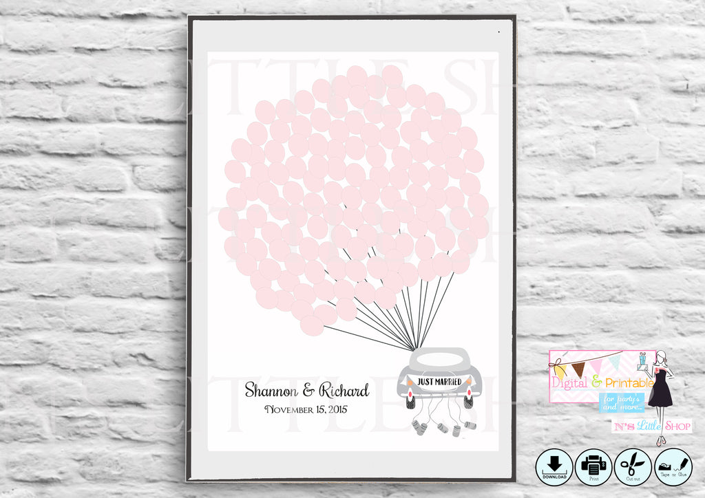 Printable Wedding Guest Book Alternative poster, Car with 125 empty pink balloons - The Paper Owl
