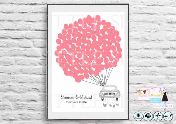 Printable Wedding Guest Book Alternative poster, Car with 125 empty red balloons - The Paper Owl
