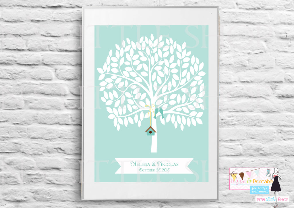 Wedding Guest Book Alternative blue poster, Tree with 155 empty Leaves editbale for names and date - The Paper Owl