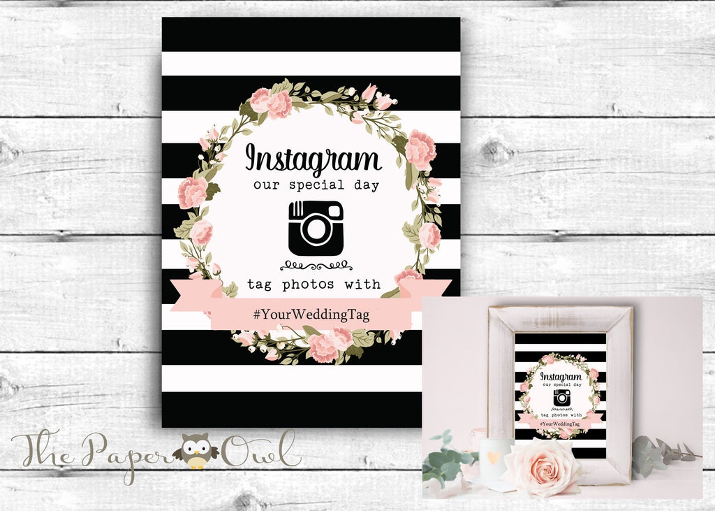 Instagram hastag wedding sign - The Paper Owl