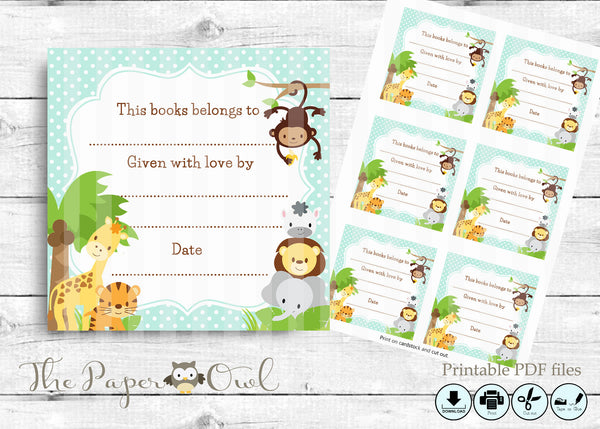 Jungle Baby Shower blue Bookplate labels - The Paper Owl