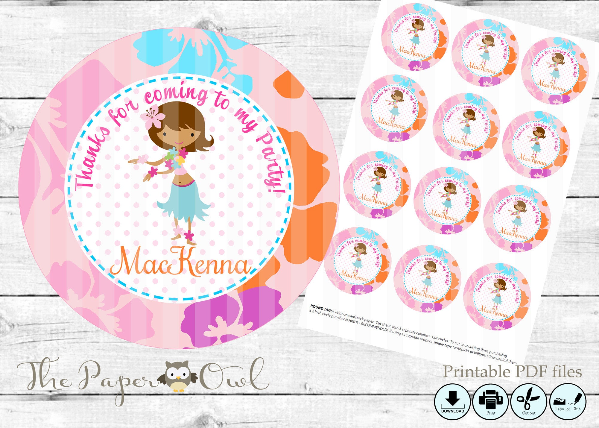 Luau Girl party 2inch thank you circles, customize yourself - The Paper Owl