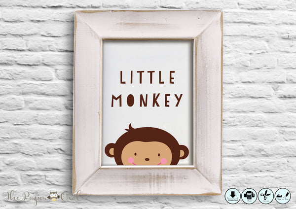 Monkey printable poster - The Paper Owl