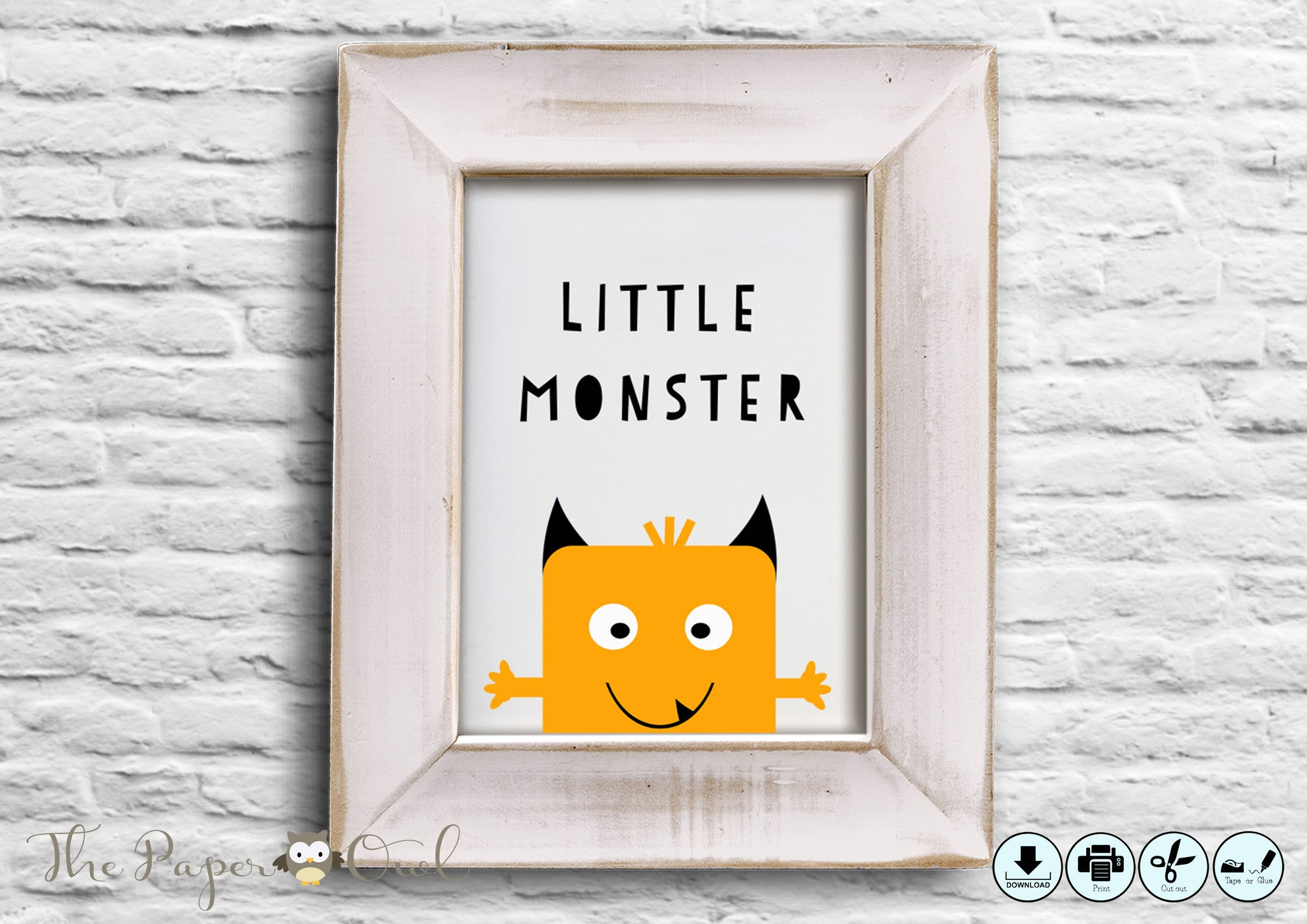 Monster printable poster - The Paper Owl