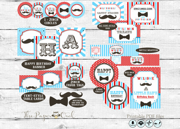 Mustache & Bowtie printable party - The Paper Owl