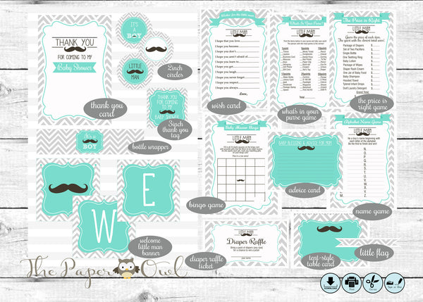 Mustache Baby Shower printable party - The Paper Owl