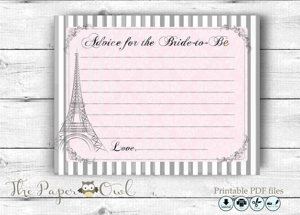 Paris Chic Bridal Shower Advice card for the Bride to Be - The Paper Owl
