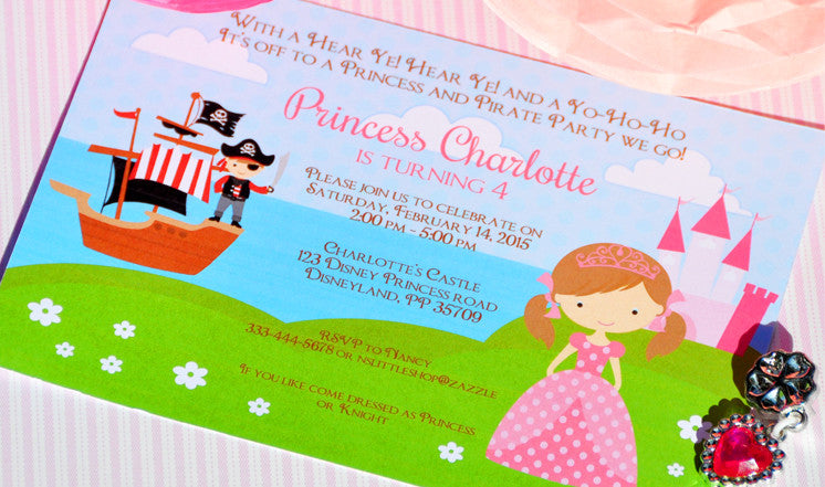 Pirate and Princess party invitation customize yourse – Pirates and Princess Party Invitations