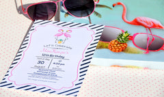 Flamingo party invitation, you can customize - The Paper Owl
