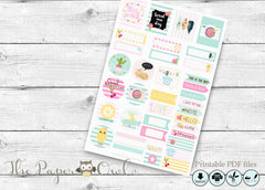 Colorful Spring  happy Planner Stickers , printable - the paper owl