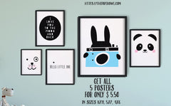 Set of 5 black and white wall art poster, printable - the paper owl
