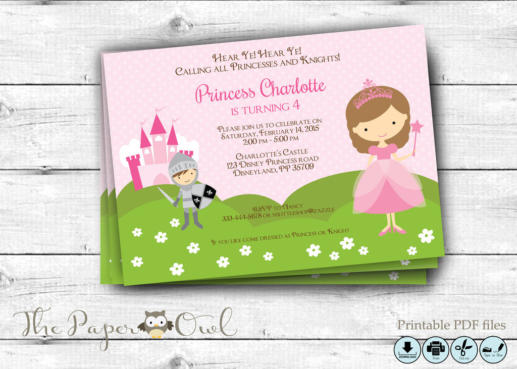 Princess and Knight party invitation personalize yourself The – Princess and Knight Party Invitations