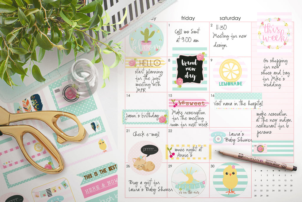Colorful Spring Planner Stickers , printable - the paper owl