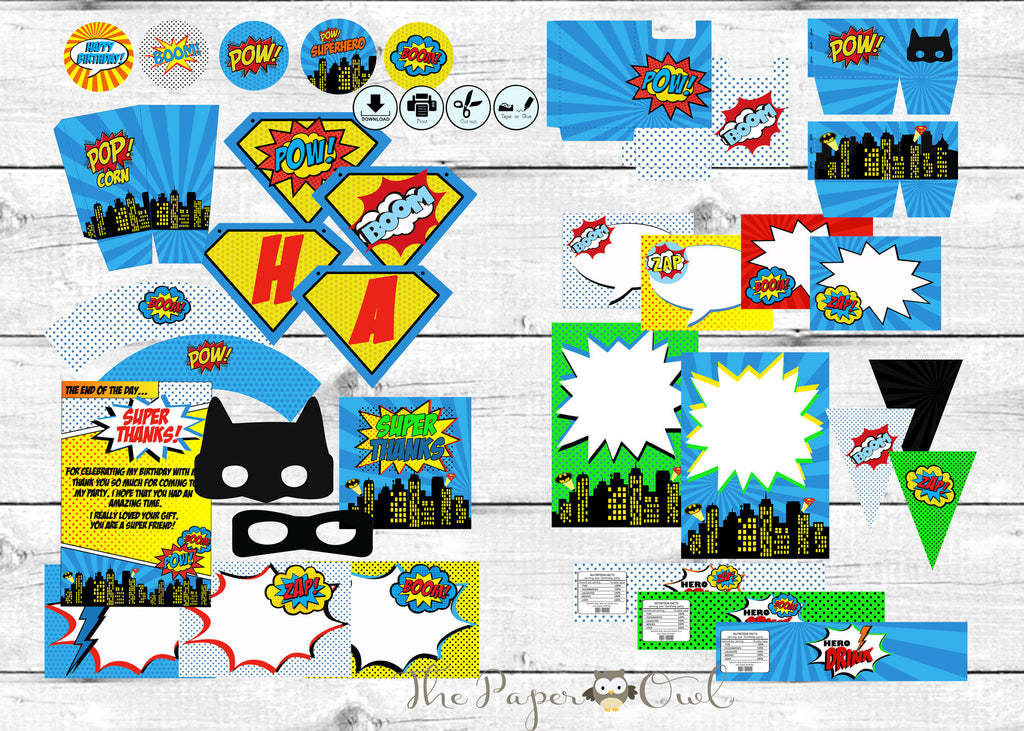Super Comic Book Hero printable party - The Paper Owl