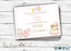 Tea Party invitation, printable - the paper owl