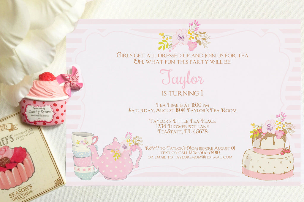 Tea Party invitation, editable, printable - the paper owl