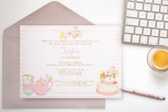 Tea Party invitation, editable - the paper owl