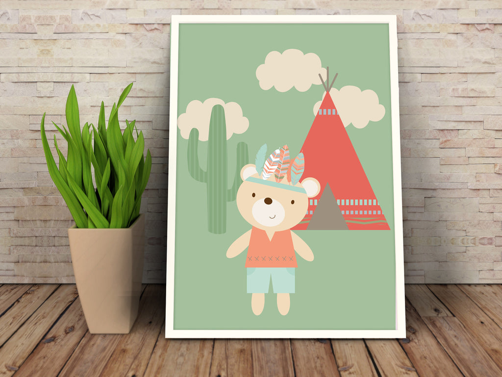 Tribal Bear Poster, printable - The Paper Owl