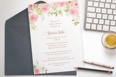 Watercolor Flowers shower invitation, editable , printable - the paper owl