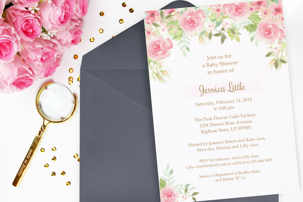 Watercolor Flowers shower invitation, printable - the paper owl
