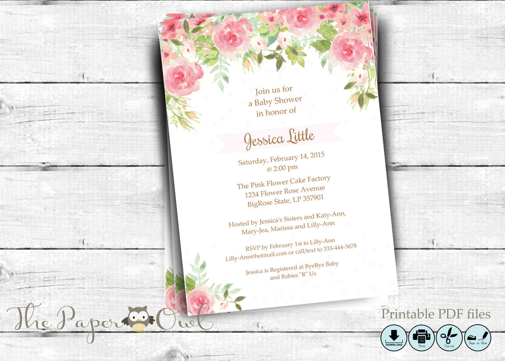 Watercolor Flowers shower invitation, DIY, printable - the paper owl