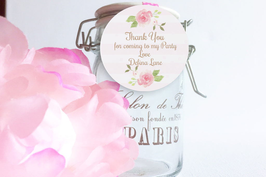 Watercolor Flowers thank you tag, editable, printable - the paper owl