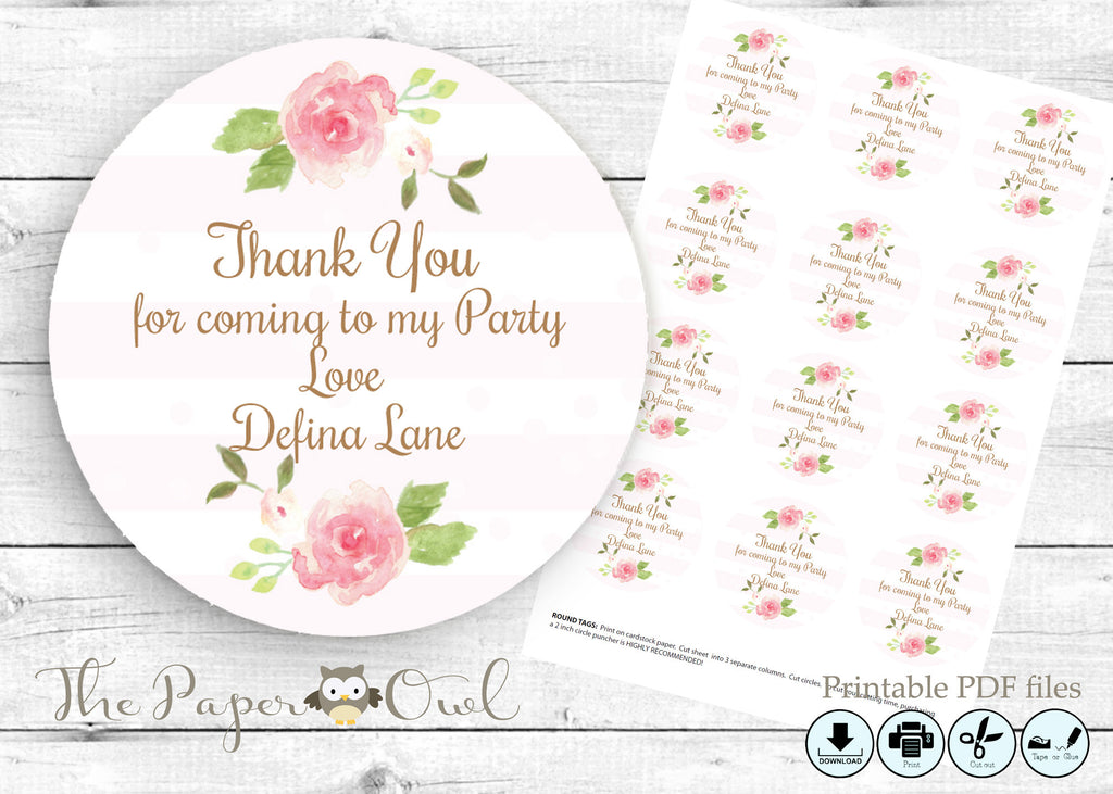 Watercolor Flowers thank you tag, printable - the paper owl