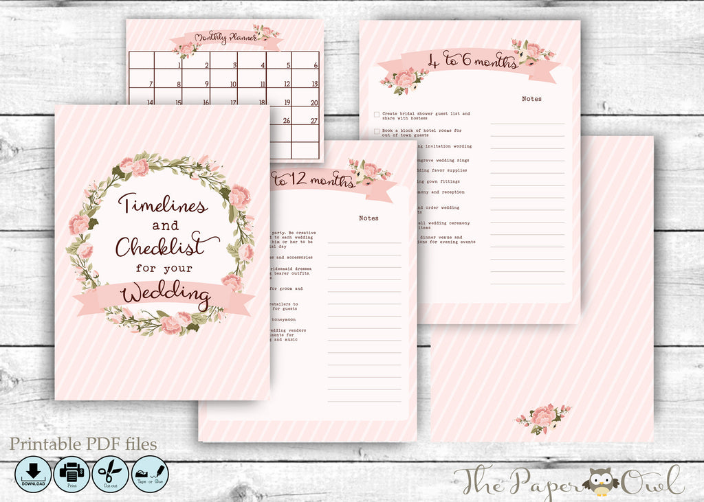 Printable 12 Month Wedding Countdown Checklist Pink, printable  – The Paper Owl