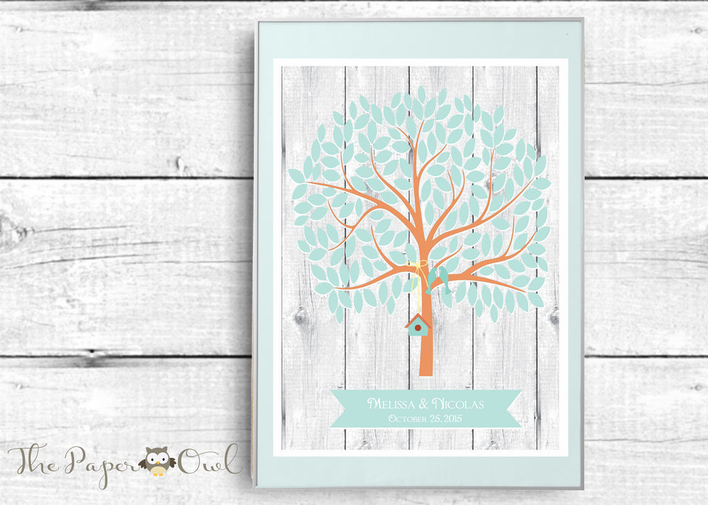 Printable Wedding Guest Book Alternative Tree poster with 155 empty Leaves - The Paper Owl