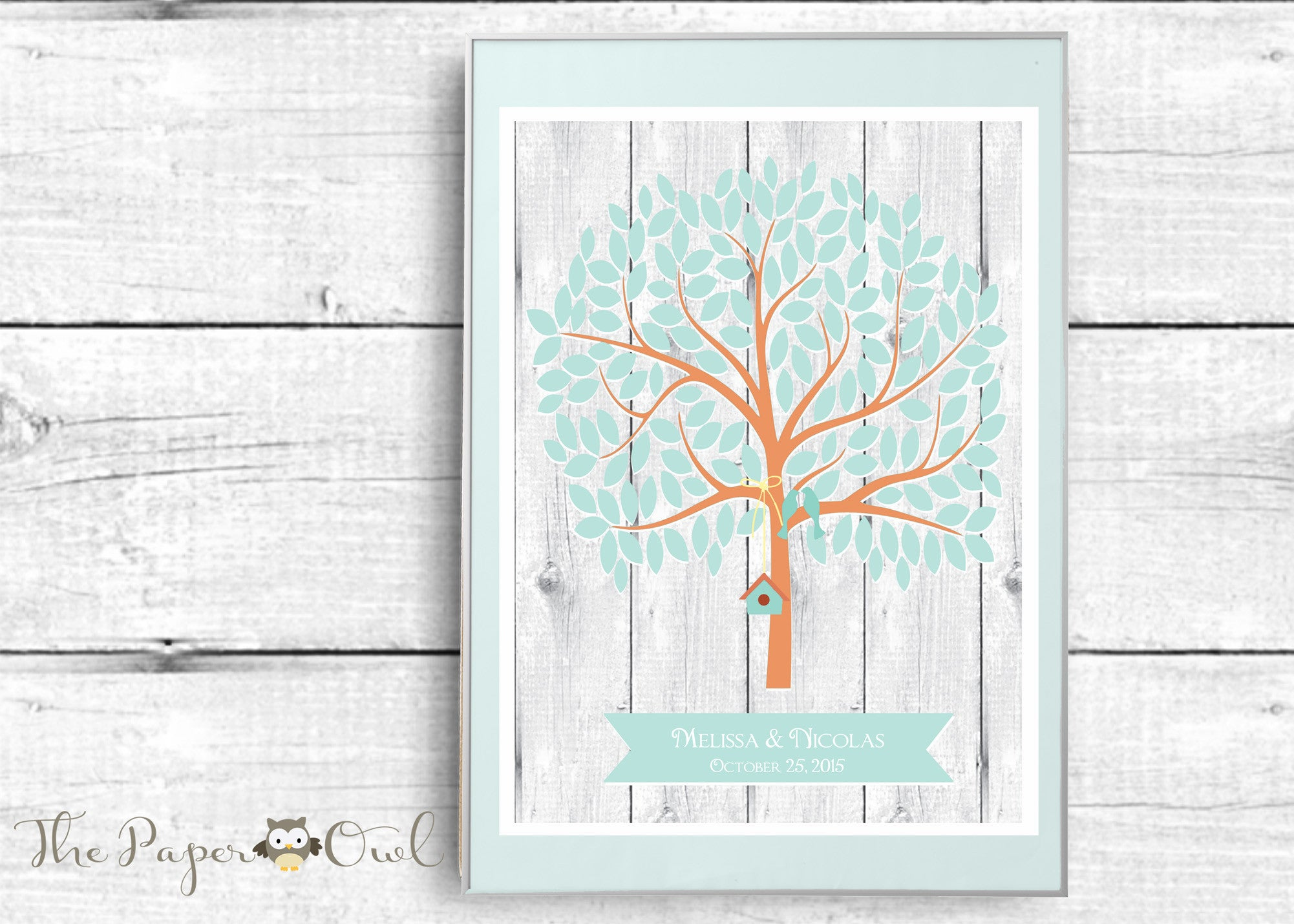 Wedding Guest Book Alternative poster, Tree with 155 empty blue Leaves, personalize with names and date - The Paper Owl
