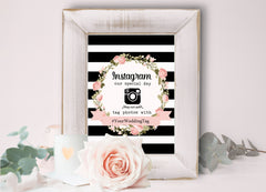 Printable Instagram hashtag wedding sign flowers, customize yourself– The Paper Owl