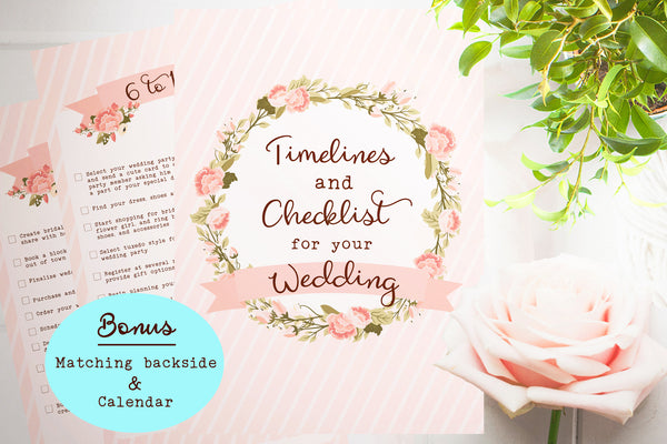 Printable 12 Month Wedding Countdown Checklist Pink  – The Paper Owl
