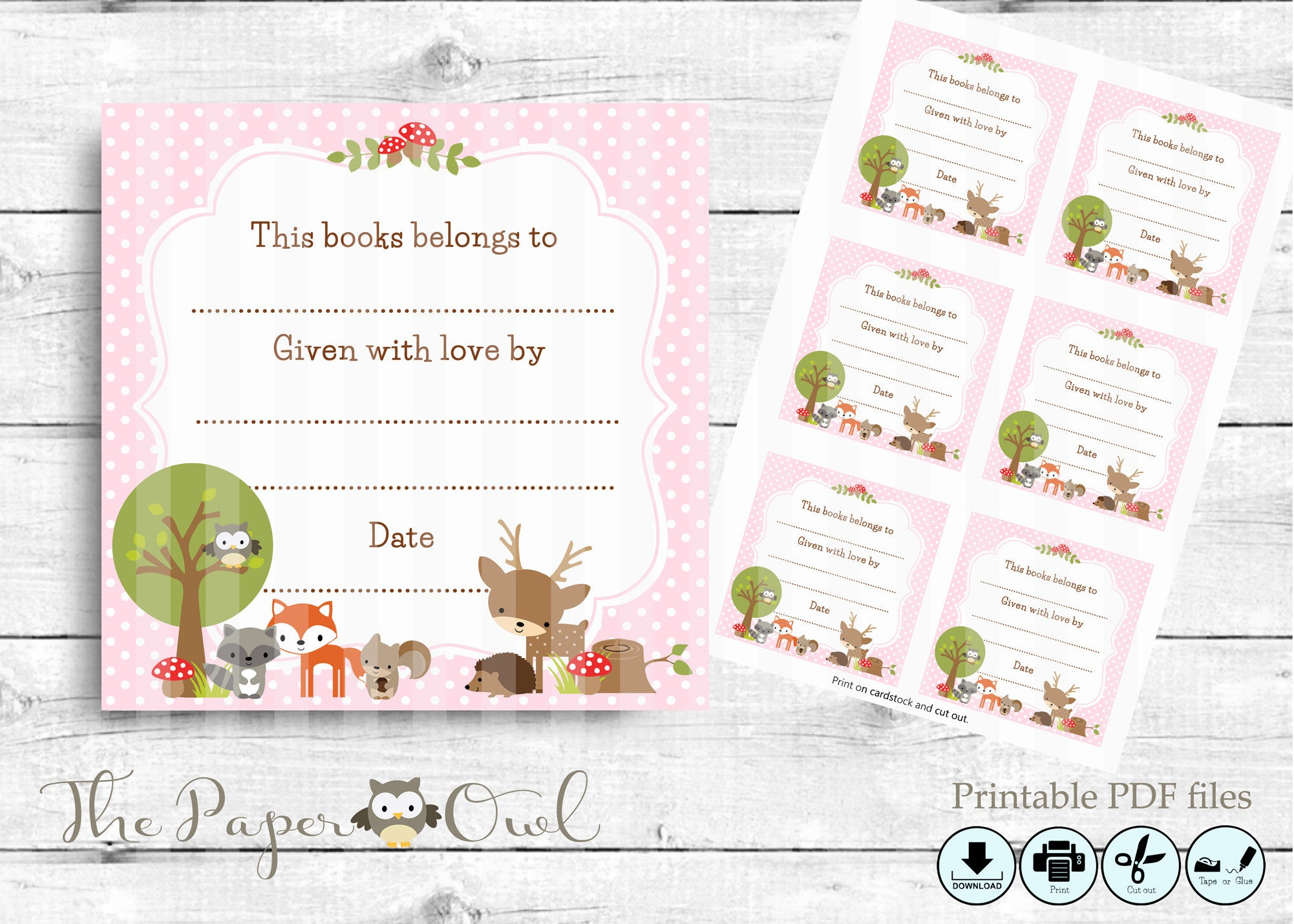Woodland Baby Shower Bookplate labels in pink - The Paper Owl
