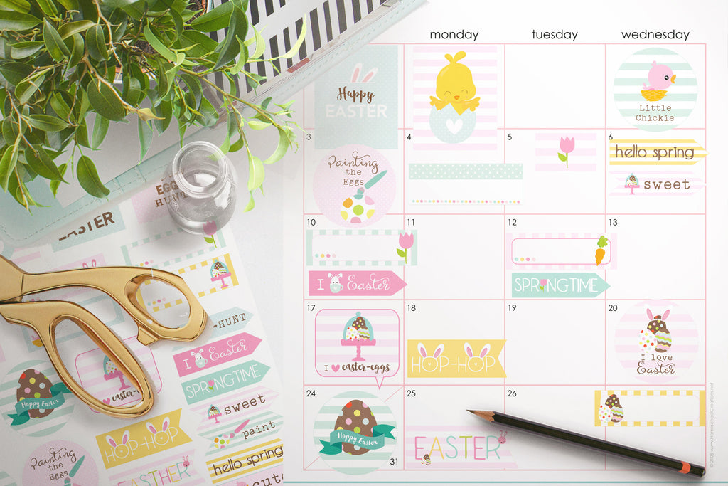 Easter Planner Stickers , printable - the paper owl