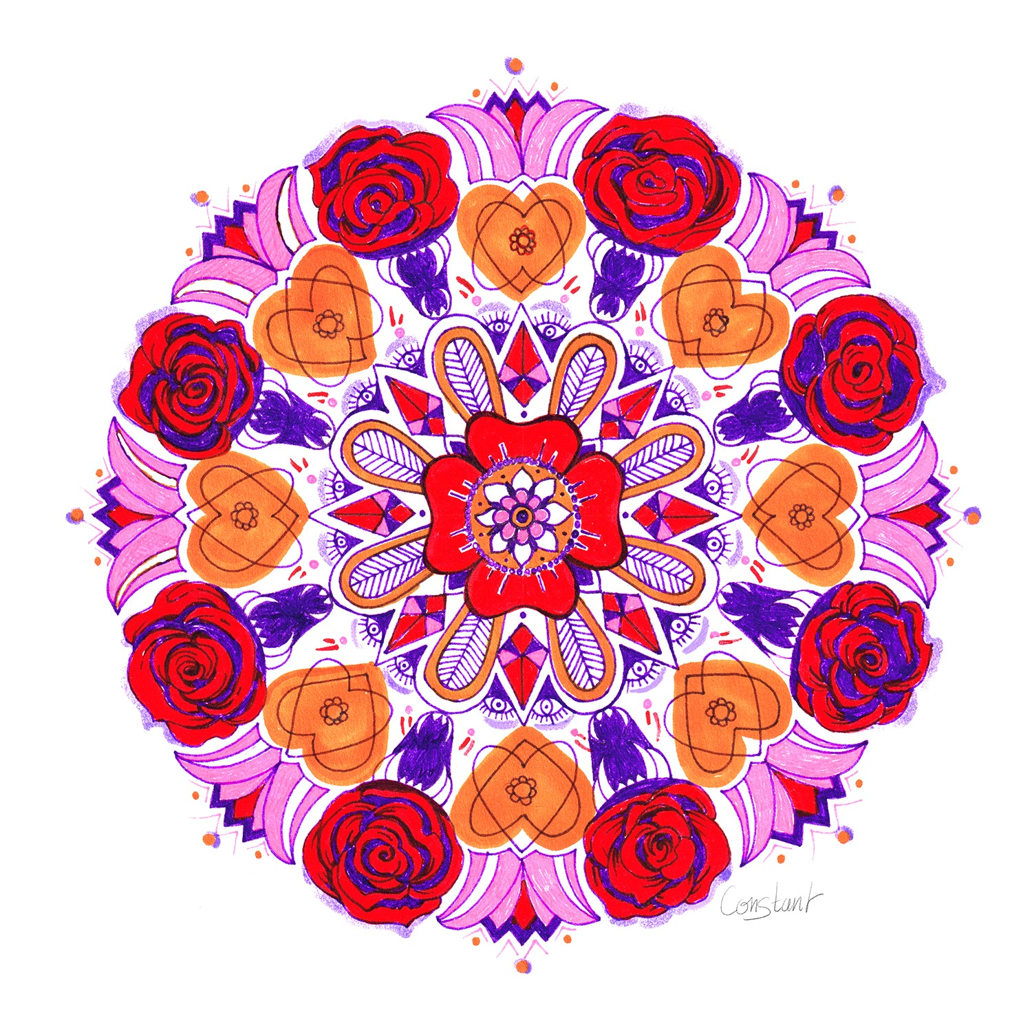 Rose Mandala - Red