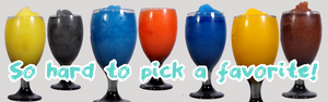 7 wine glasses full of various wine slush flavors and colors that reads so hard to pick a favorite!